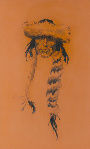 John Ford Clymer, Fur Hat, charcoal