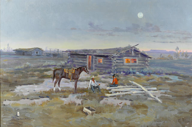 "Ace Powell, Indian Horse and Cabin, oil, 20"" x 29"""