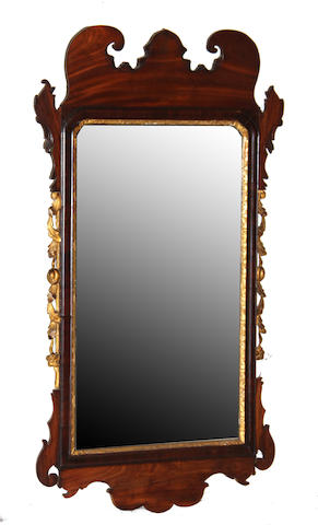 A George III parcel gilt mahogany mirror late 18th century
