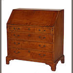 A Chippendale tiger maple slant front desk fourth quarter 18th century