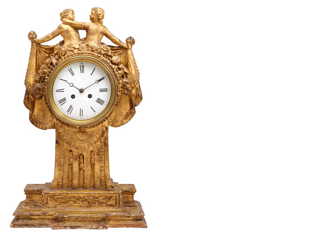 A Continental Neoclassical style giltwood mantle clock