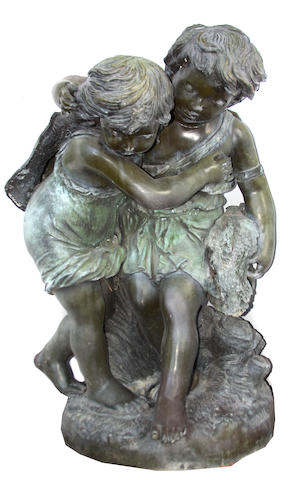 A re-cast patinated bronze group of two children