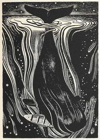 KENT, ROCKWELL, illustrator. 1882-1971. MELVILLE, HERMAN. Moby Dick or The Whale. Chicago: The Lakeside Press, 1930.<BR />