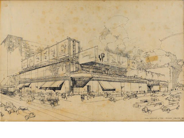 NEUTRA, RICHARD. 1892-1970.  Sketch of the Laemmle building, Hollywood and Vine.<BR />