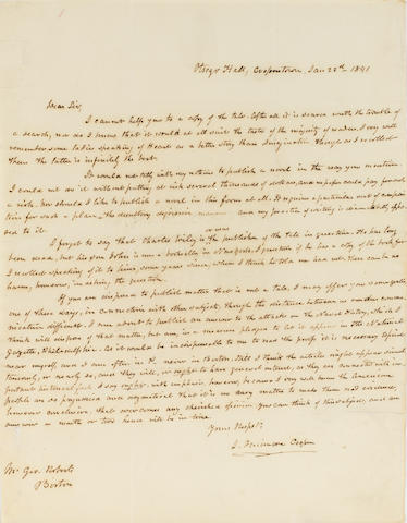 "COOPER, JAMES FENIMORE. 1789-1851.  Autograph Letter Signed (""J. Fenimore Cooper""), 1 p, 4to, January 22, 1841, Otsego Hall, Cooperstown, New York, in brown ink, to George Roberts,"