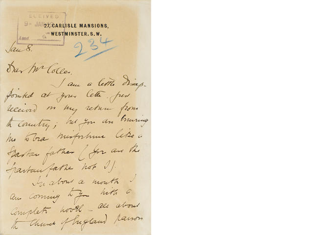 "MAUGHAM, W. SOMERSET. 1874-1965.  Autograph Letter Signed (""W. Somerset Maugham""), 3 pp, 8vo, bifoliate, Westminster, January 8, [c.1899], personal stationery, to William Morris Colles, internal ""received"" stamp and a few secretarial annotations,"
