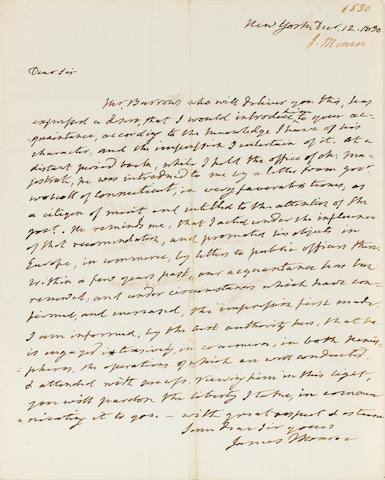 MONROE, JAMES. ALS 12/12/1830 to N. Biddle. 1 p w/ intergral leaf.