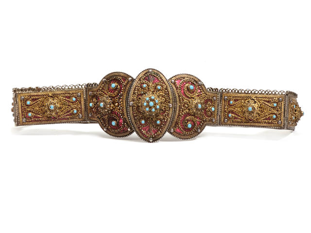 A Russian turquoise and enamel filigree belt