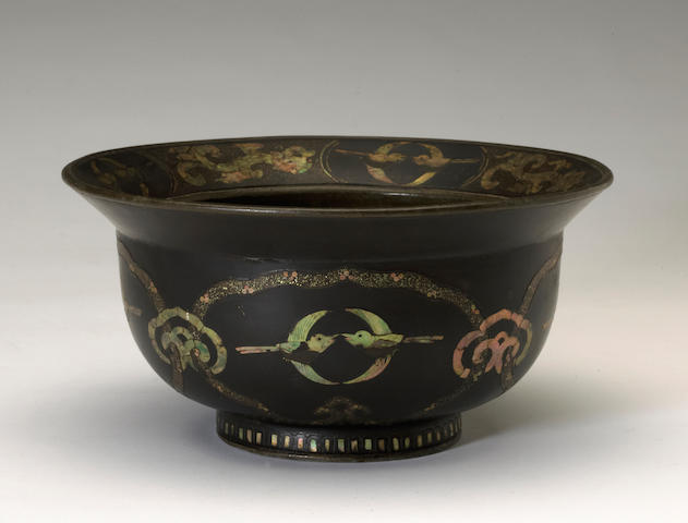 A Korean mother of pearl inlaid bowl Joseon period