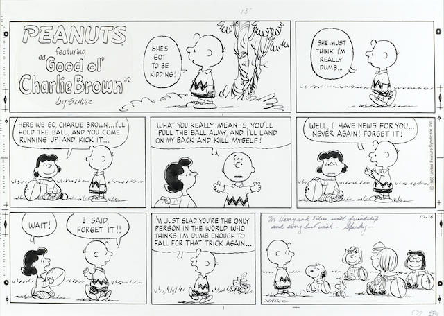 SCHULZ, CHARLES. 1922-2000.  Original 3-tiered, 8-panel Sunday Peanuts strip, ink on stiff paper, 16 1/2 x 23 1/2 (sight), dated October 16, [1983],