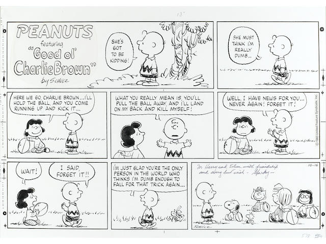 SCHULZ, CHARLES. 1922-2000. Original 3-tiered, 8-panel Sunday Peanuts strip, ink on stiff paper, 419 x 596 mm (sight), dated October 16, [1983],