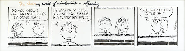 SCHULZ, CHARLES. 1922-2000. Original 3-panel daily Peanuts strip, ink on stiff paper, 6 3/8 x 23 1/2 inches (sight), dated September 9, [1986],