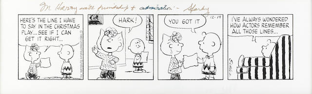 SCHULZ, CHARLES. 1922-2000. Printed 3-panel daily Peanuts strip, 7 1/4 x 24 inches, December 19, 1983,