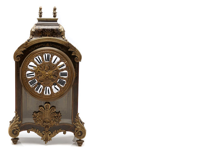 A French brass inlaid bracket clock