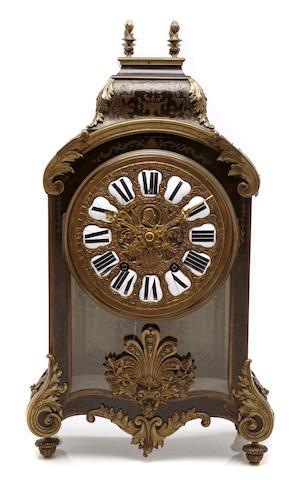 A French brass inlaid bracket clock