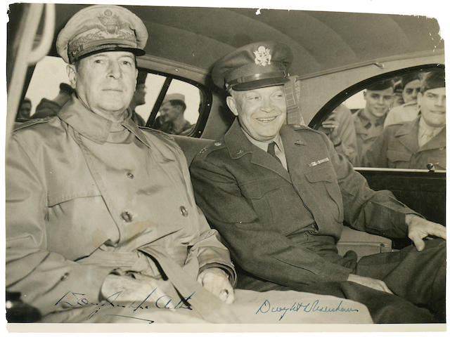 EISENHOWER, DWIGHT DAVID, and DOUGLAS MACARTHUR, signed photograph