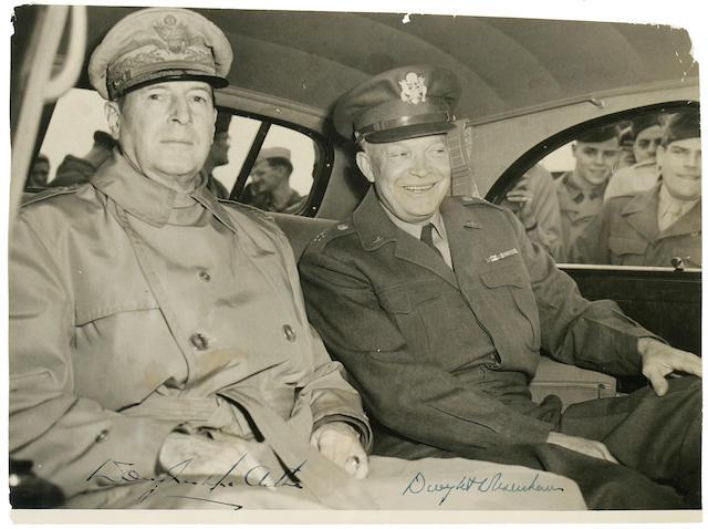 EISENHOWER, DWIGHT DAVID, and DOUGLAS MACARTHUR, signed photograph