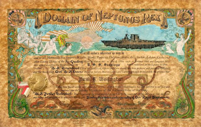 Neptune certificate - USS Saratoga