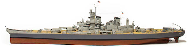 A large model of the U.S.S. Missouri  after 1945 118 x 15 x 26-1/2 in. (281.9 x 38.1 x 67.3 cm.)