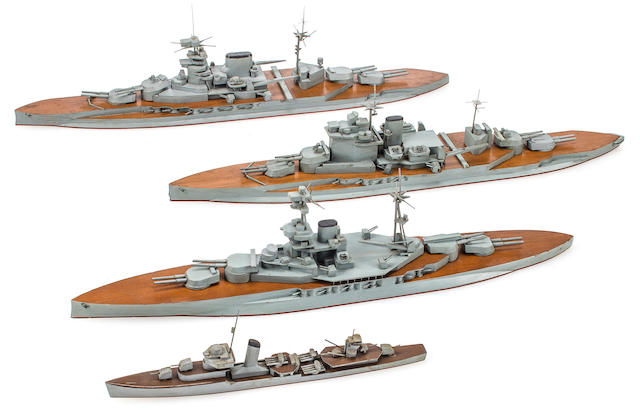 A group of four rare Imperial Japanese waterline recognition ship models of Royal Navy ships and a Japanese destroyer  before 1941 15-1/2 in. (39.3 cm.) length of the largest. 4