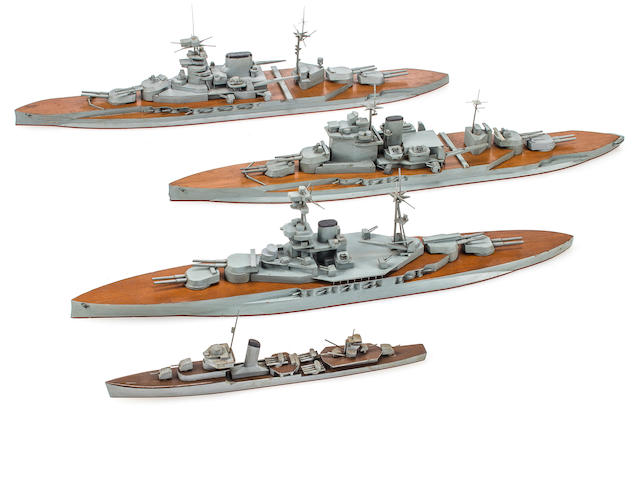 Three Japanese Imperial Navy teachers scale identification ship models of British royal navy battleships with an Imperial Japanese Navy Destroyer (2/17)