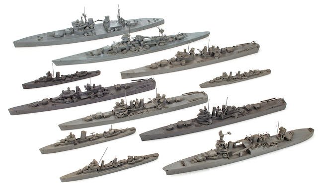 Collection of 11 US Navy Teachers scale identification ship models (2/20)