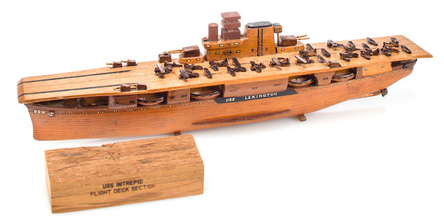 A sailor-made model of the U.S.S. Lexington  before 1941 21 in. (53.3 cm.) length. 2