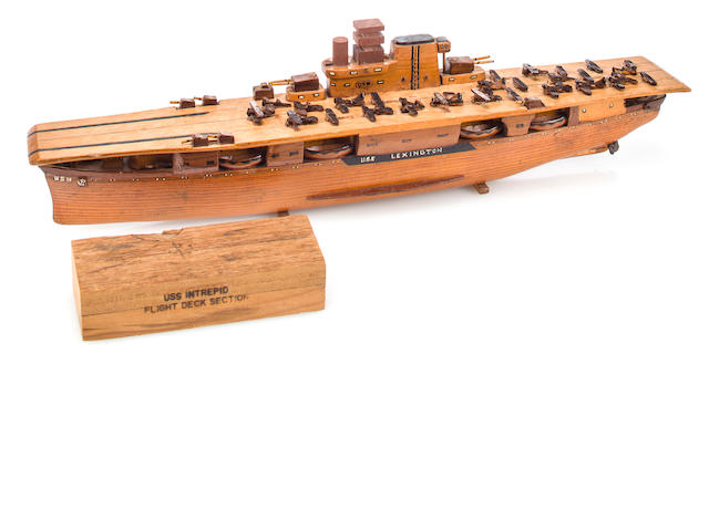 Sailor shipboard model of USN Aircraft carrier USS Lexington with a piece of wood from the flight deck of the USS Intrepid (3/24)
