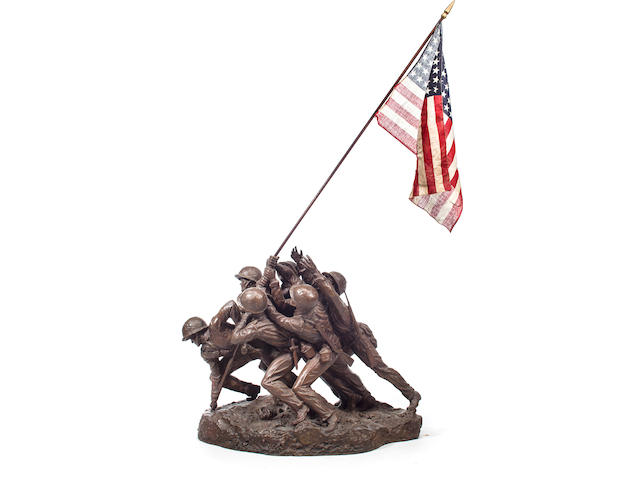 Felix de Weldon, (American 1907-2003)   The Bronze edition of the Arlington Marine Corps Memorial maquette, one of between 7 to 10 examples cast from the plaster original  1948-54 22 x 24 x 14 in. without flag (55.9 x 60.9 x 35.6 cm.)