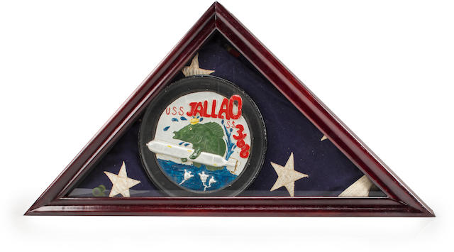 A flag and aluminum plaque from the U.S.S. Jallao  circa 1945 26-1/2 x 13-14/ in. (67.3 x 33.6 cm.) the box. 2