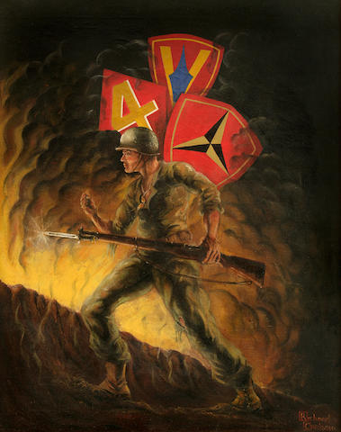 """Storming Mt. Suribachi"" - Oil on Canvas Painting - WWII vintage, signed by Richard Carlson. From the revered ""Marine Corps George"" Menegaux Collection."