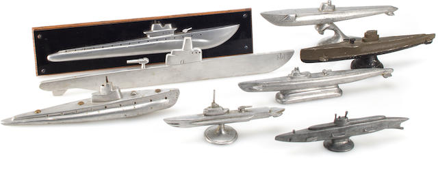 A collection of World War II fleet submarine desktop and half models  after 1942 12 in. (30.4 cm.) length of the largest. 8