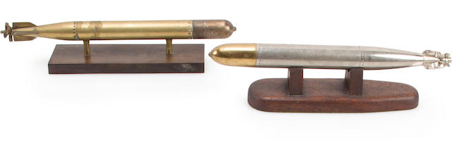 two machinist mate's USN WWII chrome plated bronze torpedo models (3/19)