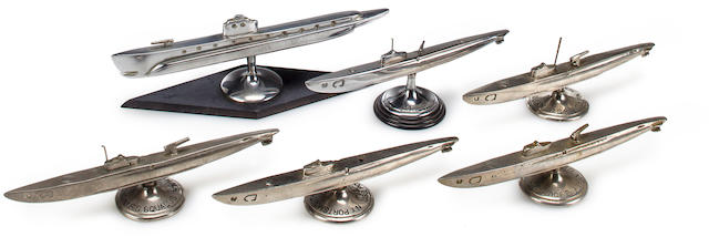 """wolf pack"" of six heavy solid cast chrome-plated bronzze USN WWII fleet sub models (3/47)"