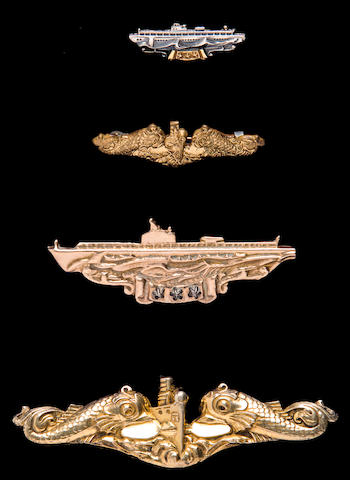 A rare solid gold WWII US Navy Submariner's Combat Patrol Badge and others  circa 1944 Various, 8
