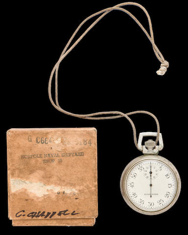 Torpedo Timing Stopwatch of Double-Navy crosss & silver star winner (3/58)