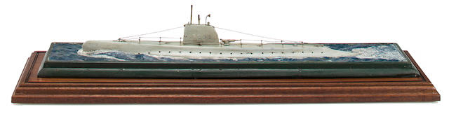 A waterline model of the submarine U.S.S. Trout (SS-202)  after 1940 30 x 7-1/2 x 8-3/4 in. (76.2 x 19 x 22.2 cm.) cased.