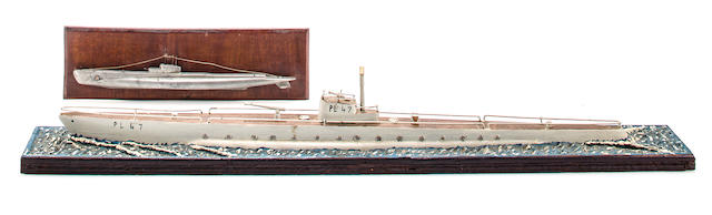 A pair of World War II Japanese submarine models  after 1940 31-1/2 x 4 x 4-1/2 in. (80 x 10.1 x 11.4 cm.) model on base, the largest. 2