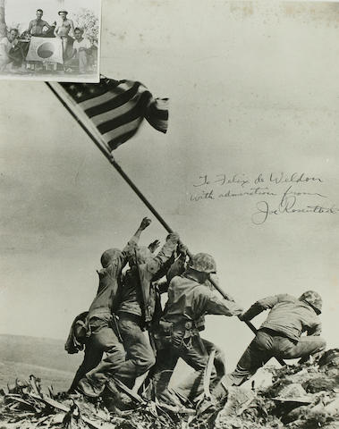 Joe Rosenthal signed photo of Mt. Suribachi flag raising, framed