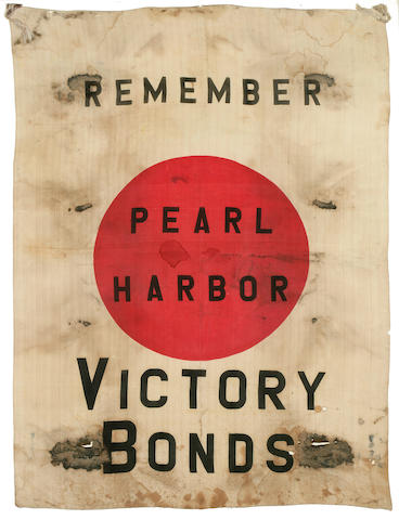 A pair of Victory Bond banners Remember Pearl Harbor  circa 1942 39 x 29-1/4 in. (99 x 74.2 cm.) sight. 2