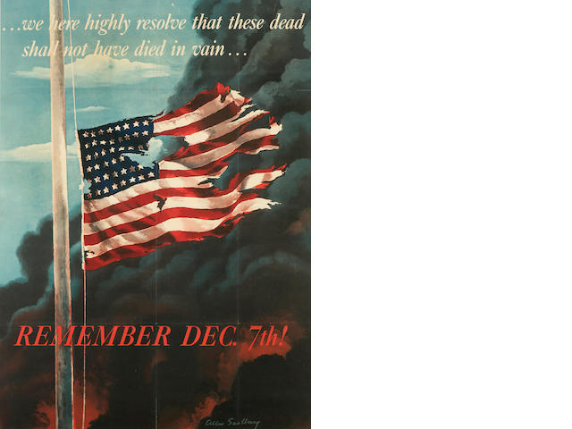 "Full-size Original ""Remember Pearl Dec. 7th!"" American Flag Poster"