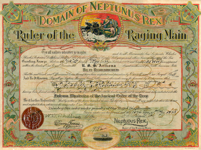 USS Arizona Neptune Certificate and 4 dinner bowls