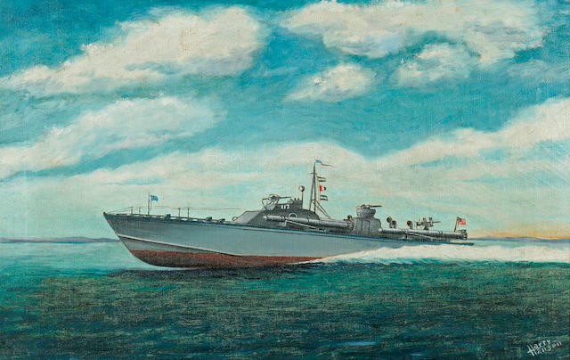 Anonymous, (American, circa 1950) Patrol Torpedo Boat 117 at full speed  14 x 22 in. (35.5 x 55.8 cm.)