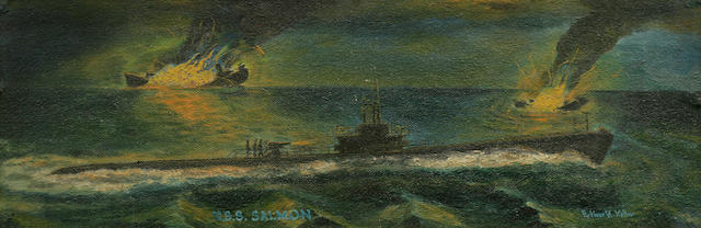 Anonymous, (American, 20th century) The U.S.S. Salmon sinking Japanese shipping  10-1/2 x 30 in. (26.6 x 76.2 cm.)