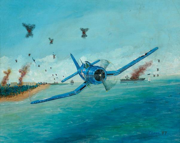 Anonymous, circa 1947 F4U Corsair in combat  16 x 20 in. (40.6 x 50.8 cm.)