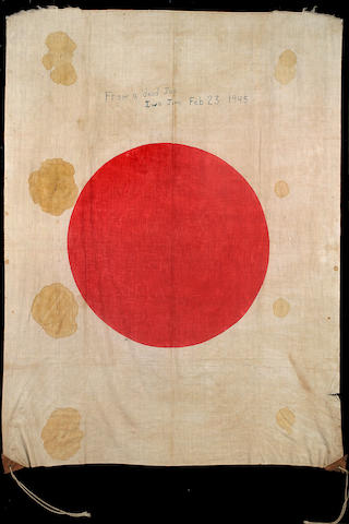 "Bloodstained Japanese Battle Flag Signed ""Taken from Dead Jap"" by Marines on Iwo Jima Feb. 23, 1945 (the Day of the Flag Raising)."