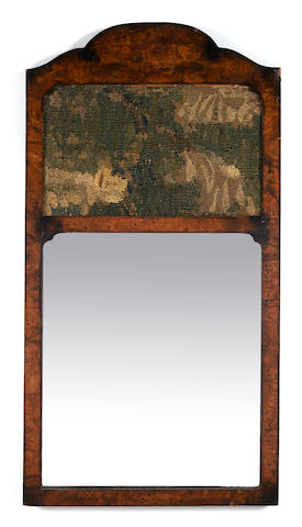 A Queen Anne style burl wood mirror inset with a tapestry panel