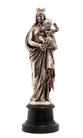 A Continental silvered bronze figural group of Madonna and Child