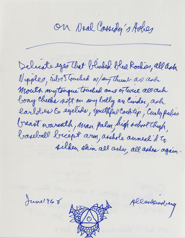 "GINSBERG, ALLEN. 1926-1997.   Autograph Poem Signed (""Allen Ginsberg""), ""On Neal Cassidy's [sic] Ashes,"" January 21, 1971,"