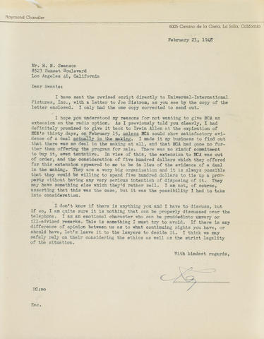 "CHANDLER, RAYMOND. 1888-1959. Typed Letter Signed (""Ray""), 1 p, 4to, La Jolla, California, February 21, 1948, on personal letterhead,"